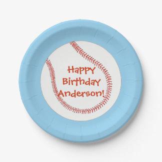 Happy Birthday Personalized Baseball Plates