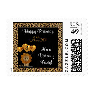 Happy Birthday Personalized Cheetah Print Stamp