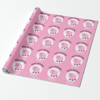Happy Birthday Personalized Kids Pink Pig Animal Wrapping Paper