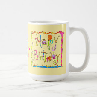 Happy Birthday Personalized Yellow Mug