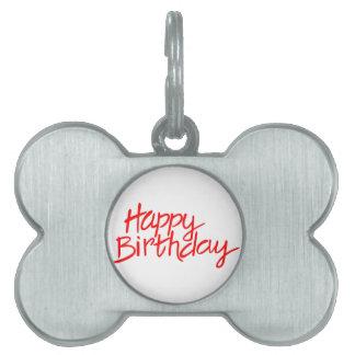 Happy Birthday Pet Name Tag