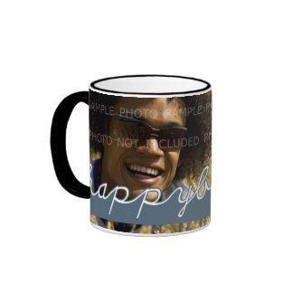 Happy Birthday Photo White Blue Cut Outs Coffee Mug