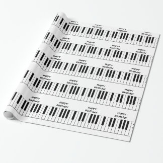 Happy Birthday, piano keys, gift wrap.