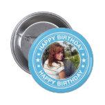 Happy Birthday Picture Frame in Blue 2 Inch Round Button