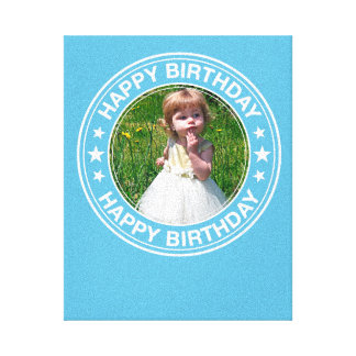 Happy Birthday Picture Frame in Blue Canvas Print