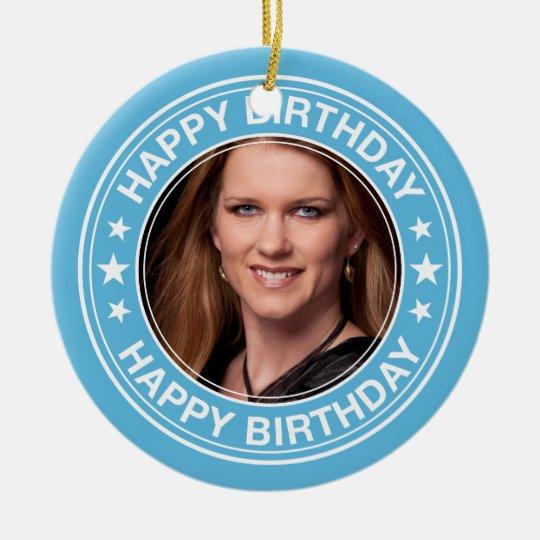 Happy Birthday Picture Frame in Blue Ceramic Ornament