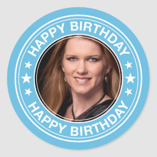 Happy Birthday Picture Frame in Blue Classic Round Sticker