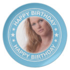 Happy Birthday Picture Frame in Blue Melamine Plate