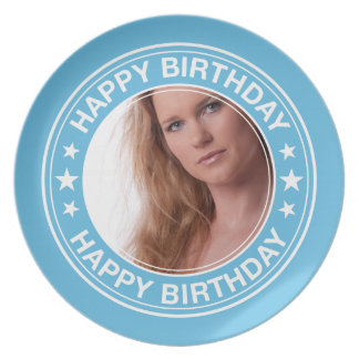 Happy Birthday Picture Frame in Blue Plates