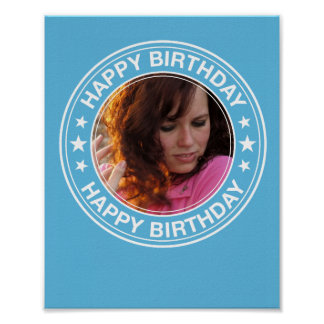 Happy Birthday Picture Frame in Blue Poster