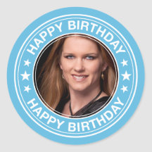 Happy Birthday Picture Frame in Blue Round Stickers