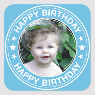 Happy Birthday Picture Frame in Blue Square Sticker