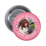 Happy Birthday picture Frame in Pink Pinback Buttons