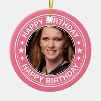 Happy Birthday picture Frame in Pink Ceramic Ornament