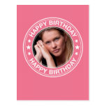 Happy Birthday picture Frame in Pink Postcard