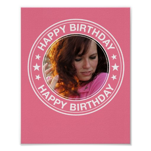 Happy Birthday picture Frame in Pink Poster