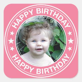 Happy Birthday picture Frame in Pink Sticker