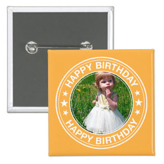 Happy Birthday picture Frame in Yellow Pinback Button