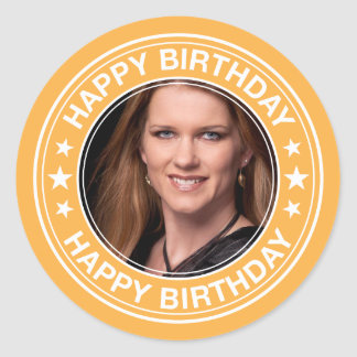 Happy Birthday picture Frame in Yellow Classic Round Sticker