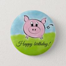Happy birthday pig button