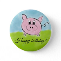 Happy birthday pig button