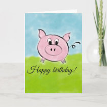Happy birthday pig card