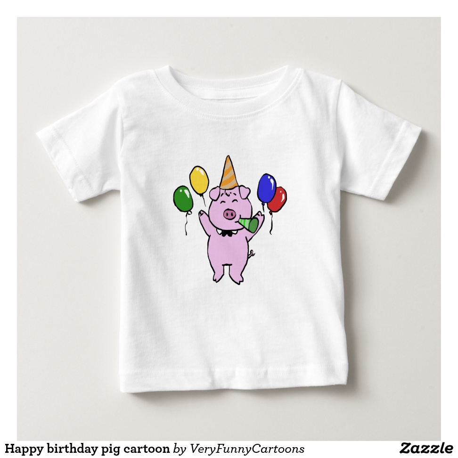 Happy birthday pig cartoon baby T-Shirt - Soft And Comfortable Baby Fashion Shirt Designs