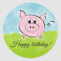 Happy birthday pig classic round sticker