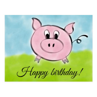 Happy birthday pig postcard
