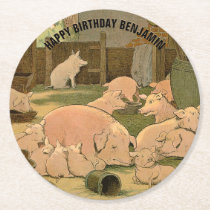 Happy Birthday Pigs Illustrated Round Paper Coaster
