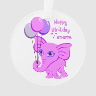 Happy Birthday Pink Baby Elephant Custom Name