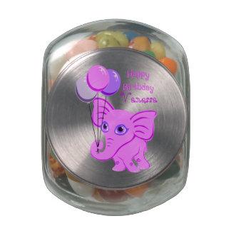 Happy Birthday Pink Baby Elephant Custom Name Glass Jar