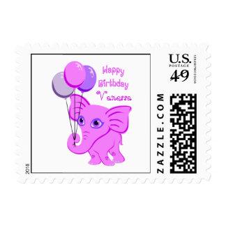 Happy Birthday Pink Baby Elephant Custom Name Postage Stamp