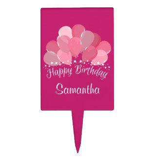 Happy Birthday Pink Balloons And White Stars Cake Topper