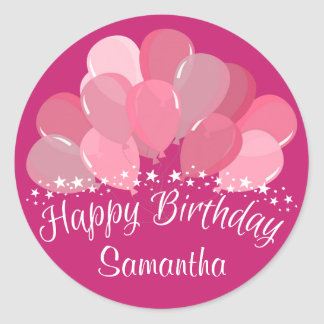 Happy Birthday Pink Balloons And White Stars Classic Round Sticker
