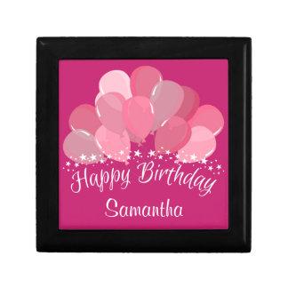 Happy Birthday Pink Balloons And White Stars Gift Box
