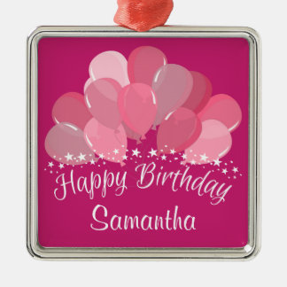 Happy Birthday Pink Balloons And White Stars Square Metal Christmas Ornament