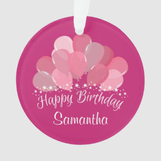 Happy Birthday Pink Balloons And White Stars Ornament