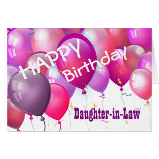 Happy Birthday Pink Balloons DAUGHTER-IN-LAW Card