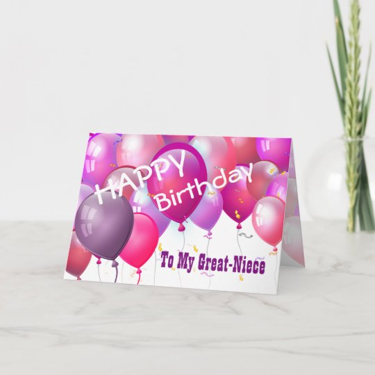 Happy Birthday Pink Balloons GREAT NIECE Card