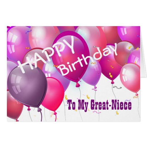 Happy Birthday Pink Balloons GREAT-NIECE Card