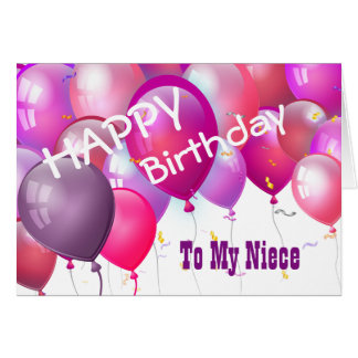 Happy Birthday Pink Balloons with Role NIECE Card