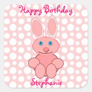 Happy Birthday Pink Bunny Rabbit Custom Name Square Stickers