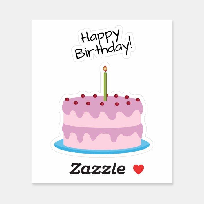 Pleasant Happy Birthday Pink Cake Contour Sticker Zazzle Com Personalised Birthday Cards Paralily Jamesorg