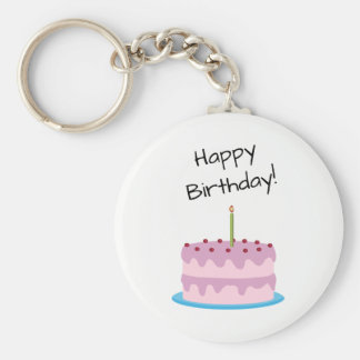Happy Birthday Pink Cake Keychain