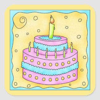 Happy Birthday Pink Cake Sticker 1st