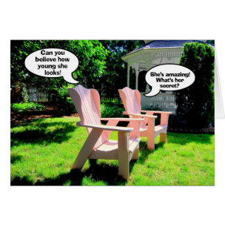 Happy Birthday, Pink Chairs Humor Card