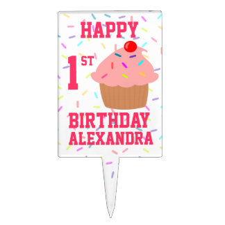 Happy Birthday Pink Cupcake and Sprinkles Cake Topper