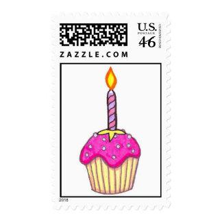 Happy Birthday Pink Cupcake Postage