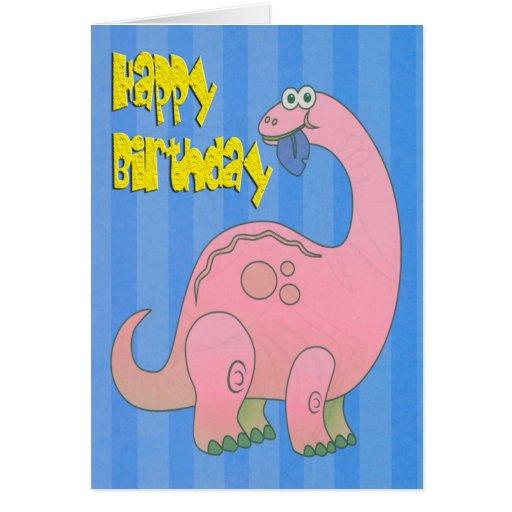 Happy Birthday Pink Dinosaur Card
